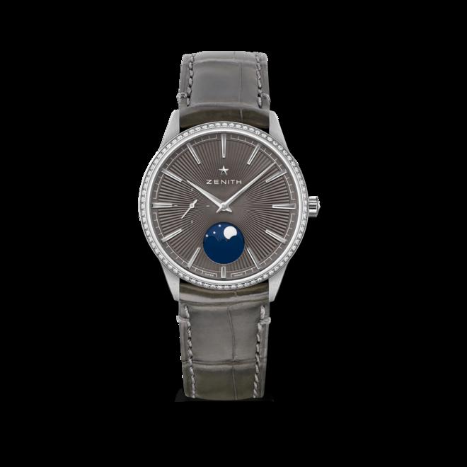 Damenuhr Zenith Elite Moonphase 36mm mit Diamanten und Alligatorenleder-Armband bei Brogle