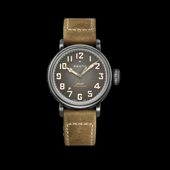 Herrenuhr Zenith Pilot Type 20 40mm mit grauem Zifferblatt und Rindsleder-Armband bei Brogle