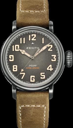 Herrenuhr Zenith Pilot Type 20 40mm mit grauem Zifferblatt und Rindsleder-Armband
