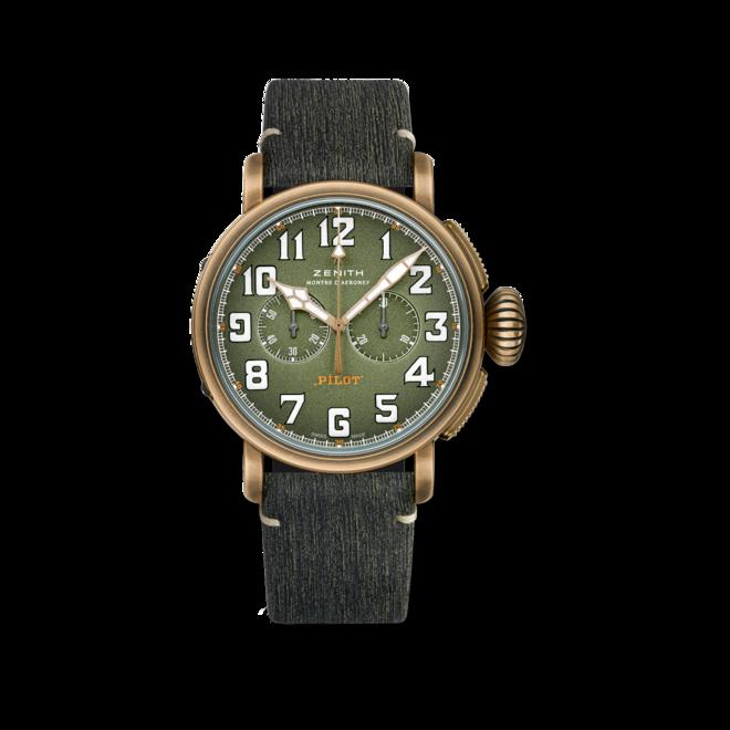 Herrenuhr Zenith Pilot Type 20 Chronograph Adventure 45mm mit grünem Zifferblatt und Alligatorenleder-Armband bei Brogle