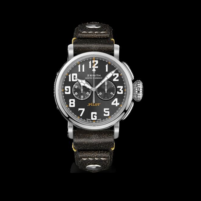 Herrenuhr Zenith Pilot Type 20 Chronograph Rescue 45mm mit grauem Zifferblatt und Kalbsleder-Armband bei Brogle