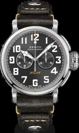 Herrenuhr Zenith Pilot Type 20 Chronograph Rescue 45mm mit grauem Zifferblatt und Kalbsleder-Armband