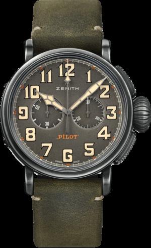 Herrenuhr Zenith Pilot Type 20 Chronograph Ton Up 45mm mit grünem Zifferblatt und Rindsleder-Armband