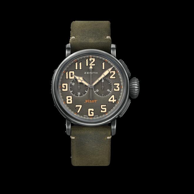 Herrenuhr Zenith Pilot Type 20 Chronograph Ton Up 45mm mit grünem Zifferblatt und Rindsleder-Armband bei Brogle