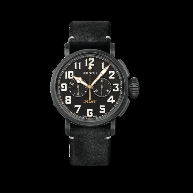 Herrenuhr Zenith Pilot Type 20 Chronograph Ton Up 45mm mit schwarzem Zifferblatt und Rindsleder-Armband bei Brogle