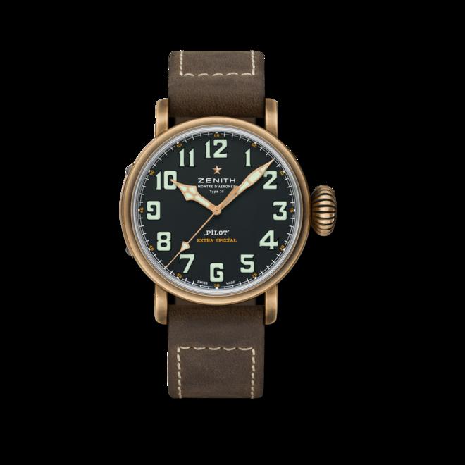 Herrenuhr Zenith Pilot Type 20 Extra Special 45mm mit schwarzem Zifferblatt und Kalbsleder-Armband bei Brogle
