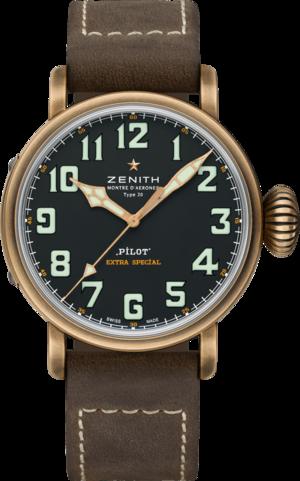 Herrenuhr Zenith Pilot Type 20 Extra Special 45mm mit schwarzem Zifferblatt und Kalbsleder-Armband